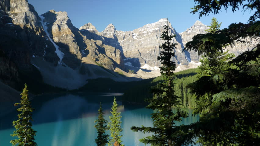 Valley of the 10 Peaks tower over majestic alpine Moraine Lake in the Canadian Rockies