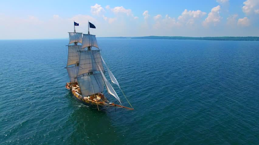 Tall ship at sea, majestic vessel sailing in open waters.  #18597158