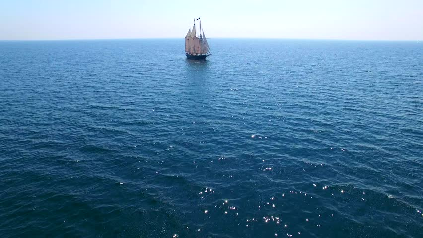 Tall ship at sea, majestic vessel sailing in open waters.  #18597197