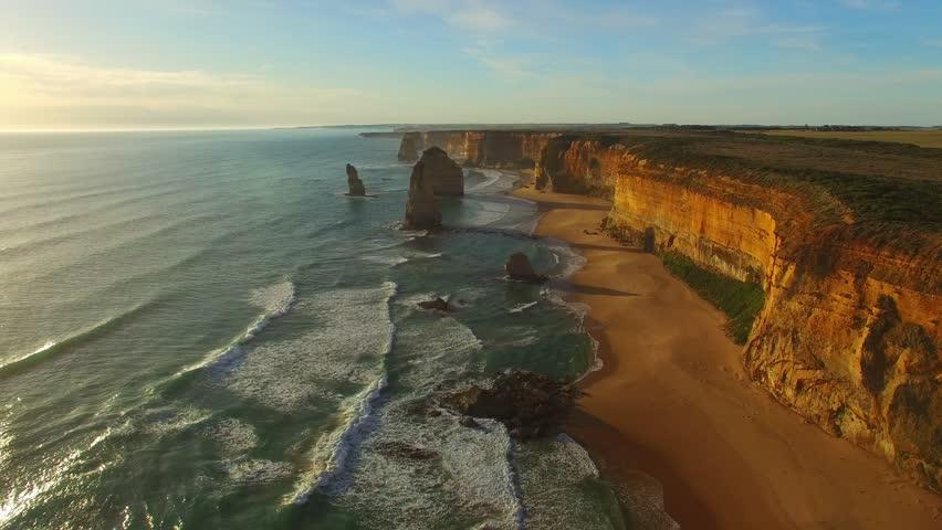 Twelve Apostles at sunset, aerial view of Australian Coast.