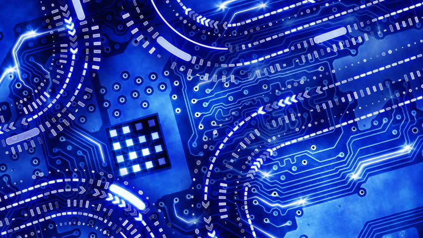 Blue technology circuit board background loop