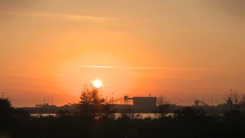 Steel works, Port Talbot, Wales, sundown
