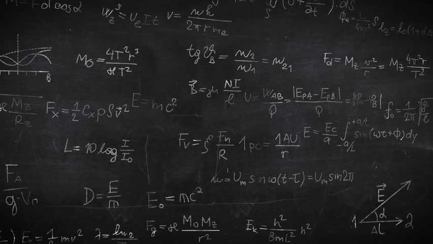 Formula doodle on chalkboard background. Science concept.   Shutterstock HD Video #18644111