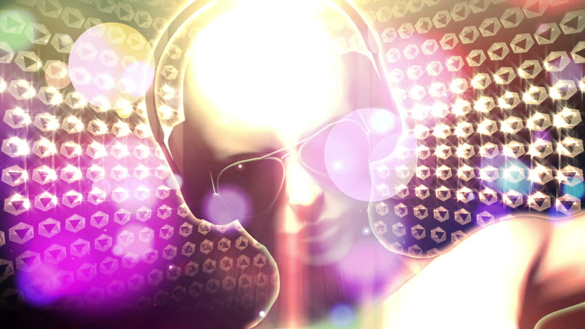 3D woman with headphones AND sunglasses spinning with glow and light streaks and glitter and sparkles. HD 1080 Seamless Loop.