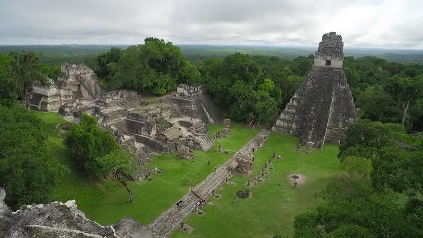 Great aerial shot over the Tikal pyramids in Guatemala. (Guatemala 2010s)