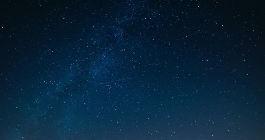Starry night sky with meteor shower Milky Way moving in time lapse #18663530