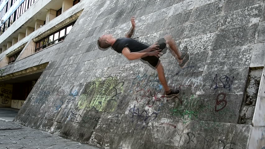 Compilation of Parkour, freerun gymnasts sport  Royalty-Free Stock Footage #18674432