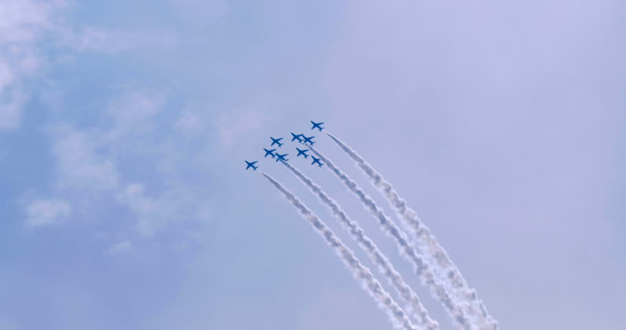 Display of Royal Air Force Red Arrows airplanes