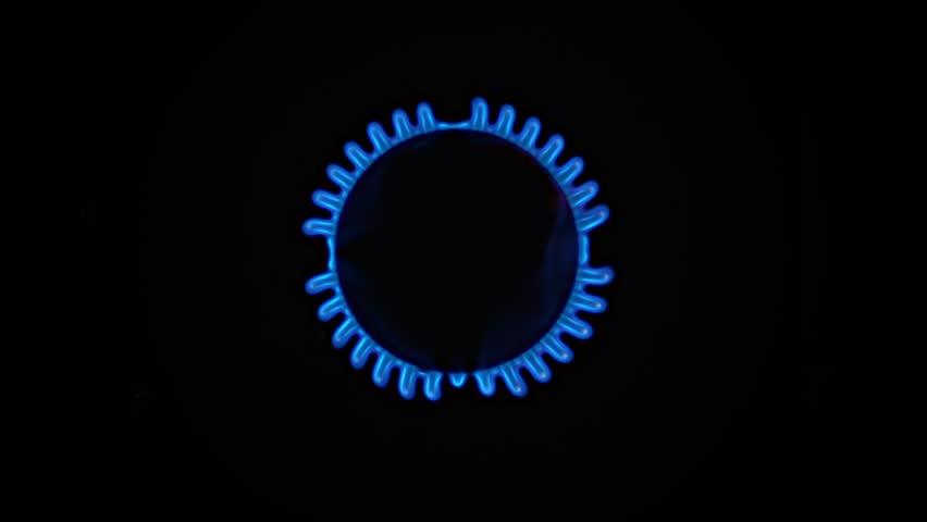 Natural Blue Gas flame lights up