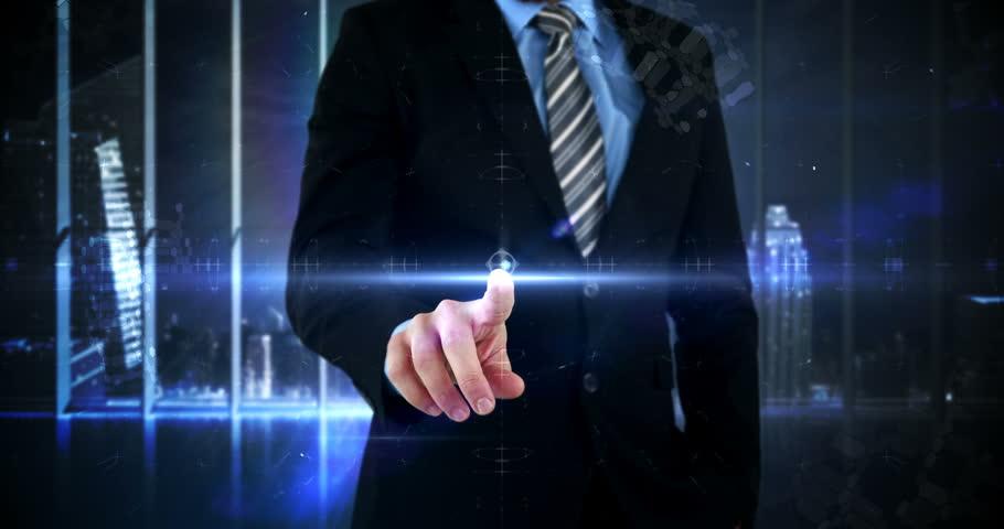 Mid section of businessman touching virtual digital interface screen 4k | Shutterstock HD Video #18727301