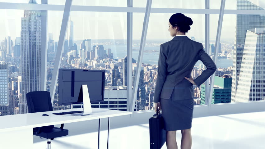 Rear view of businesswoman standing and looking at office window | Shutterstock HD Video #18728036