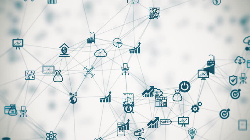 internet of things, background from the chaotically slow moving connected things #18731603