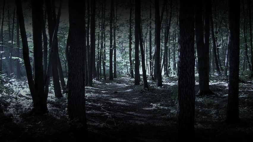 Man Running In Dark Woods Stock