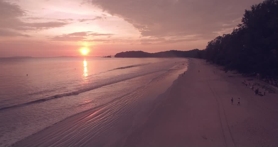 Ao Yai Beach Sunset on Koh Phayam in Ranong, Aerial Tracking Shot | Shutterstock HD Video #18748715