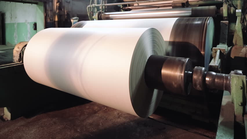 Paper production machine. Processing of secondary resources. Paper recycling. Large enterprise
