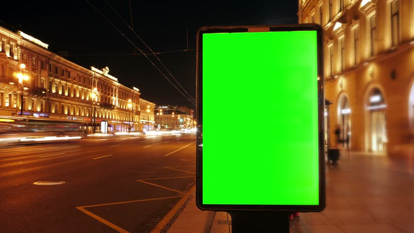 A Billboard with a Green Screen on a Busy  Street,Time Lapse. | Shutterstock HD Video #18754910