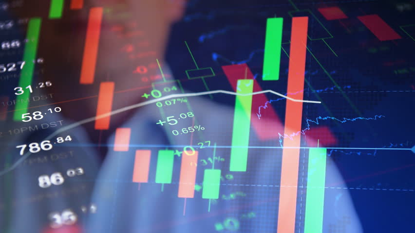 "Market news concept. Abstract stock market collage. Businessman press text button ""Market news"".  | Shutterstock HD Video #18761234"