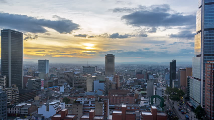 Static view of a day to night time lapse in Bogota, Colombia