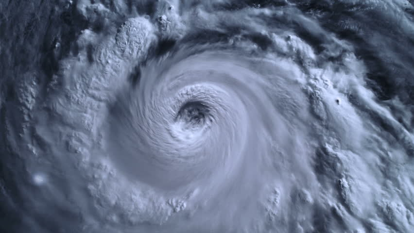 The hurricane storm, tornado, with lightning over the ocean., satellite view.