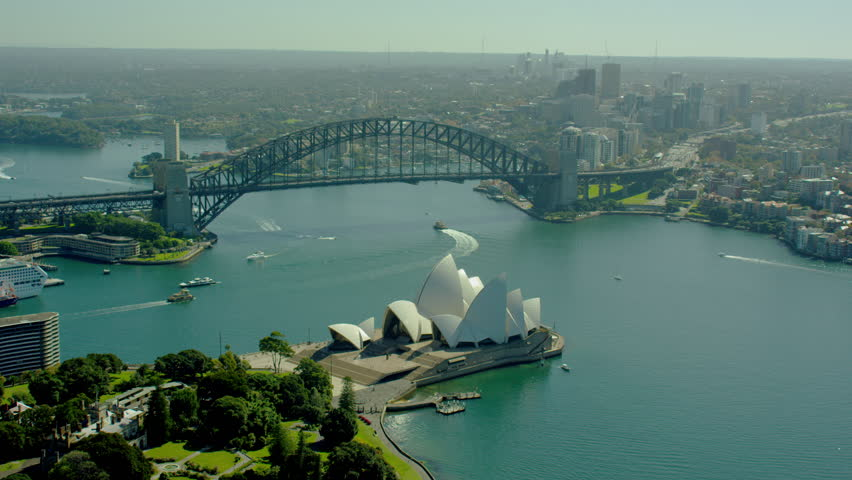 Sydney Australia - 2016: Aerial Sydney Harbor Bridge Opera House Harbour Landmark sea Circular Quay Ferry Coastline Cityscape Building travel tourism RED DRAGON