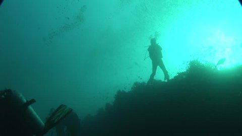 diver and sharks underwater scuba diving Maldives scuba diving course deep diving