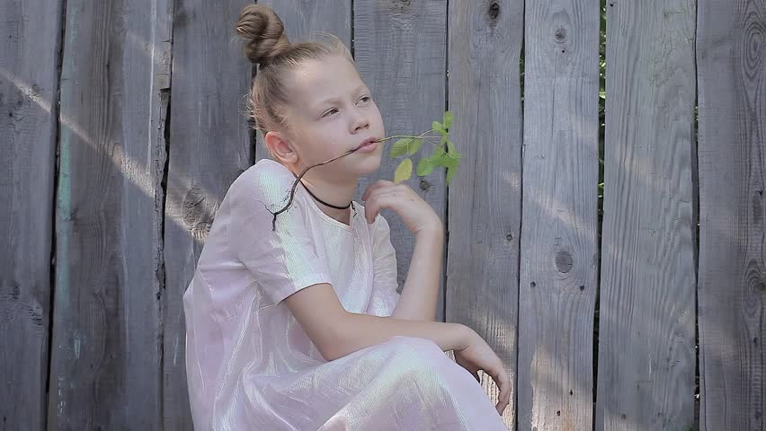 Girl in a Pink Dress on a Background of Wooden Fence Holding a Flower in Her Mouth and Looks Into the Distance | Shutterstock HD Video #18873821
