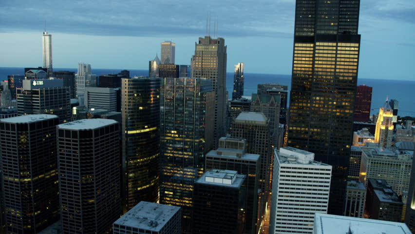 Chicago - June 2016: Aerial Illinois America sunset Trump Tower skyline cityscape Downtown city car skyscraper office building travel Finance suburb RED DRAGON | Shutterstock HD Video #18893264
