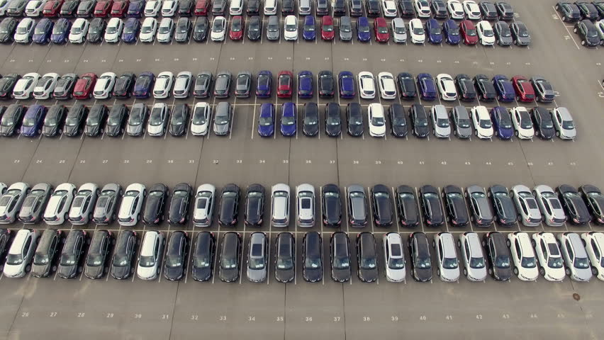 Flying Above Storage Parking Lot of New Unsold Cars, aerial view | Shutterstock HD Video #18921677