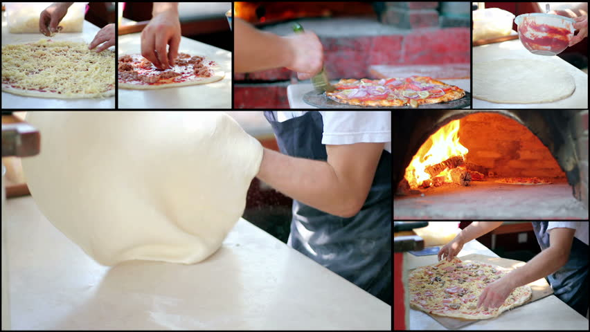 Making Pizza - Pizzeria - Video collage of clips showing chef making a pizza in commercial kitchen. HD1080p.