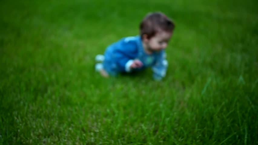 Cute little baby crawling on all fours over the summer the green of the grass. Beautiful happy child. Son daughter childhood. | Shutterstock HD Video #18944651