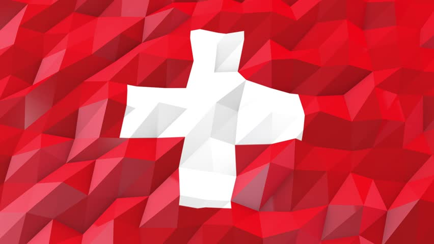 Flag of Switzerland 3D Wallpaper Illustration, National Symbol, Low Polygonal Glossy Origami Style | Shutterstock HD Video #18972349