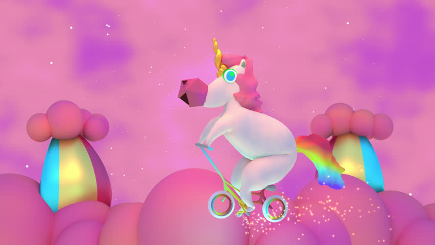 3D Cartoon Magic Unicorn And Rainbow Clouds Animation. Cute and mythical horse riding on a bike and having fun playing in the sky, Glowing spark lights particle effect trail.