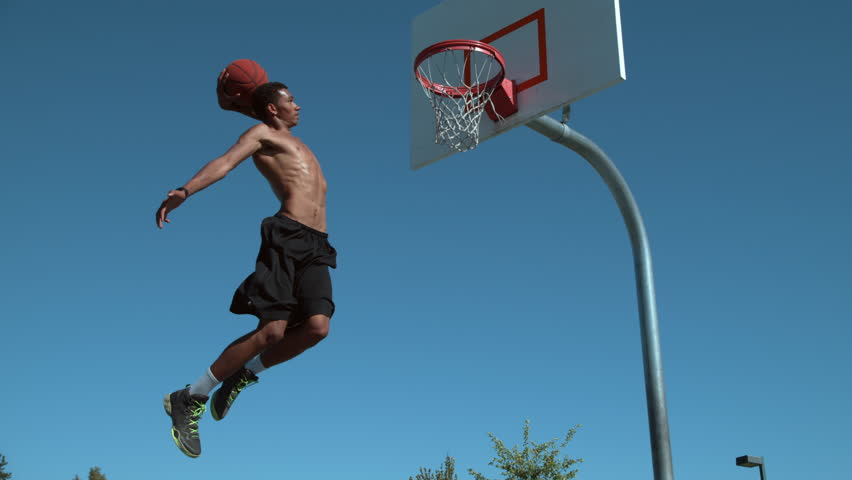 Super slow motion shot of basketball basketball slam dunk, shot on Phantom Flex 4K #19000327