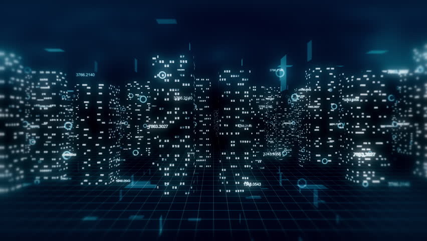 Computer generated, loop ready 3D financial city flight animation. Blue theme. Royalty-Free Stock Footage #19004575