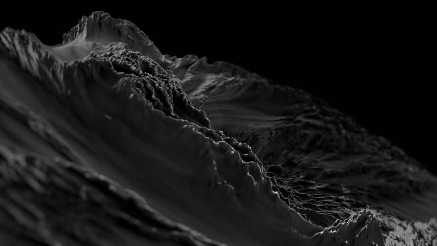 CG Fractal abstract background animation with depth of field. Seamless loop. Black and white. Royalty-Free Stock Footage #19030054