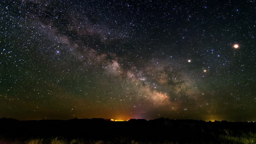 Time lapse of Milky Way over the Badlands