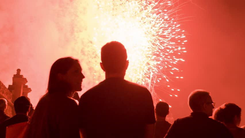 Romantic Young Couple Silhouette Watching Fireworks Hugging Love Relationship Celebration Concept