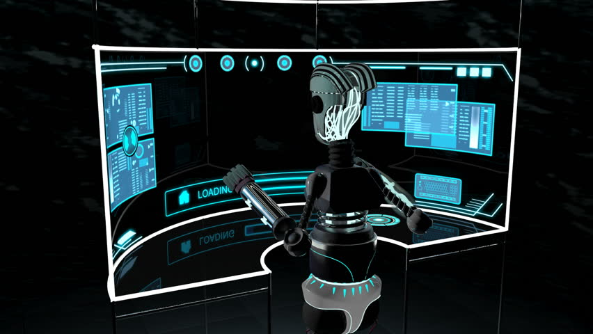 Futuristic 3D robot accessing communication data using touchscreen technology