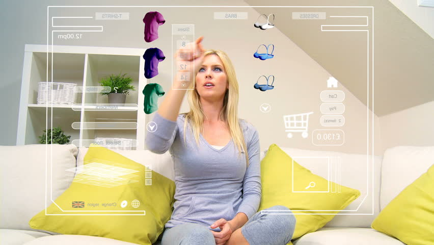 Touchscreen graphic technology being accessed by caucasian female for home shopping | Shutterstock HD Video #1905079