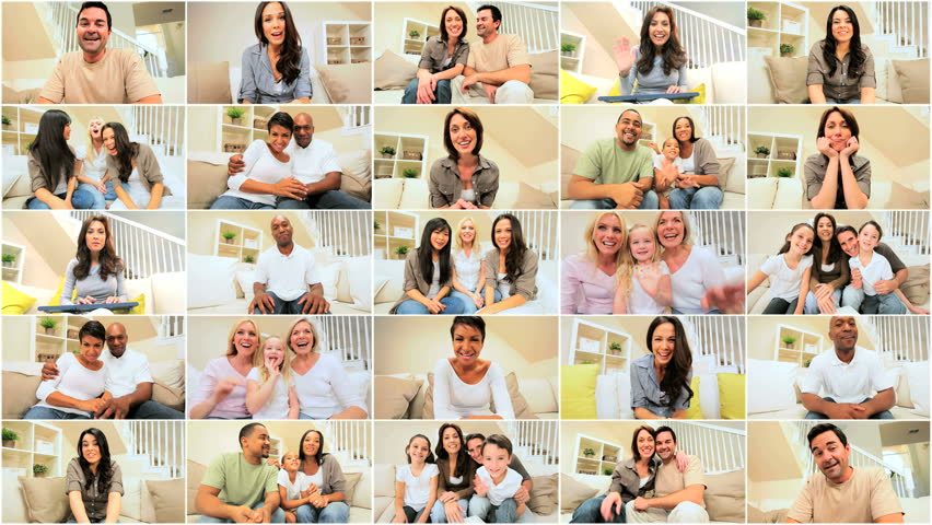 Multiple montage images of multi ethnic families &  friends communicating using modern online video chat | Shutterstock HD Video #1905706