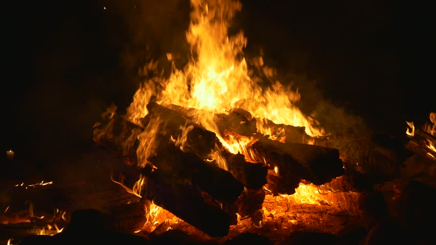 Big bonfire with large logs of wood in the night   Shutterstock HD Video #19066693
