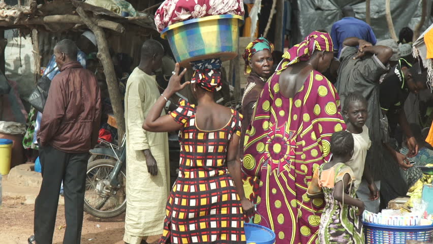 Sept 2015 Ouélessébougou, Mali,  Rallenty. a market in Mali. Video shots from a car to a market in Mali during the epidemic period of ebola.