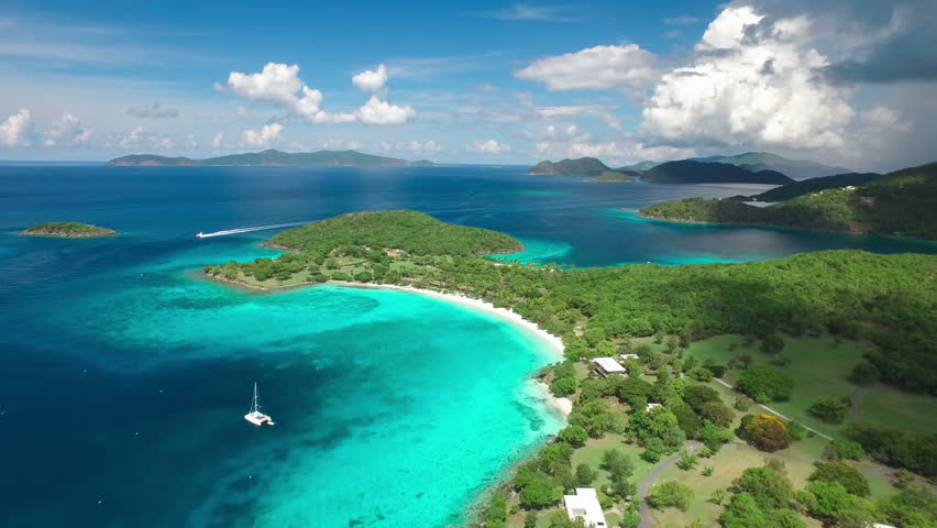 Aerial view of Caneel Bay, St John, Untied States Virgin Islands