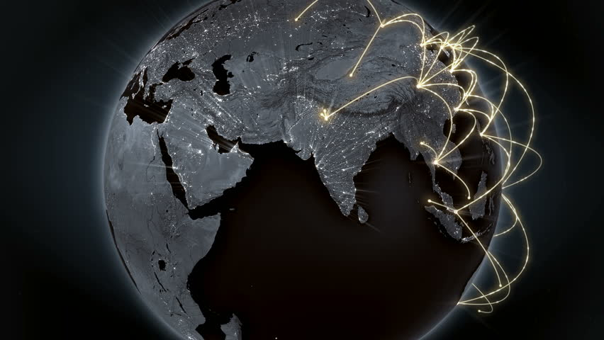 Growing global network across the world. Internet and business concept. Global communication. Orange version. 4K  | Shutterstock HD Video #19116844