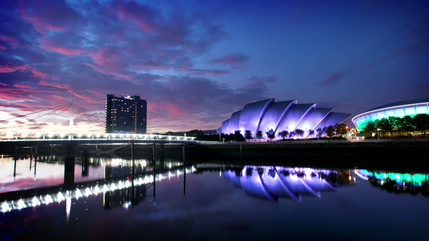 Timelapse of River Clyde at dusk, Glasgow, Scotland