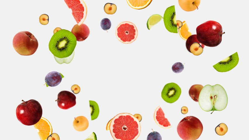 fruit fly on a white background from the center, fruit explosion,Includes matte for compositing over footage or abstract background, mask included, Luma Matte