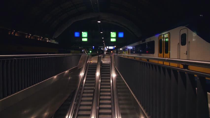 Last Train Leaving Amsterdam Station leaving nobody   Shutterstock HD Video #19136941