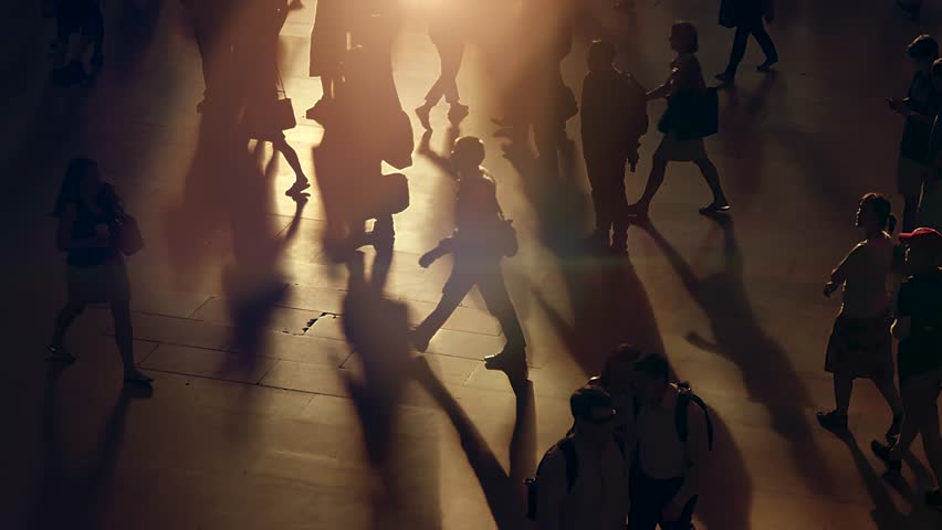 Commuters walking in the city business district at rush hour time. people crossing crowded street. group of anonymous pedestrians commuting | Shutterstock HD Video #19163806