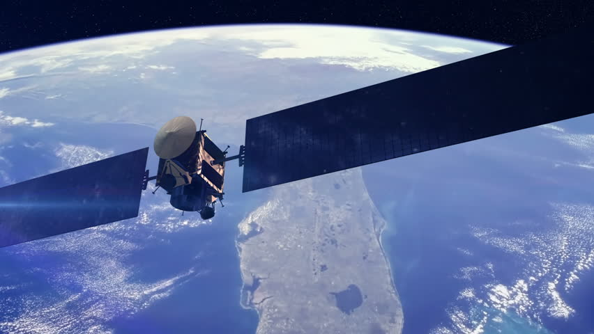 Communications satellite orbiting earth. Space and technology related concept. Royalty-Free Stock Footage #19179604