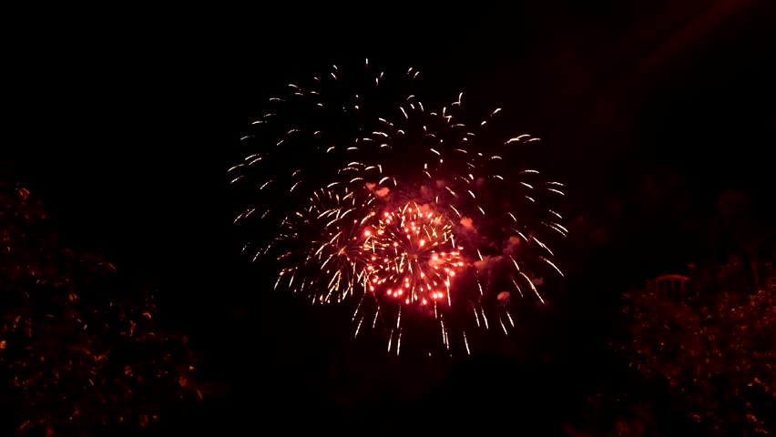 Colorful fireworks at holiday night | Shutterstock HD Video #19186219